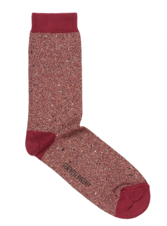 Young British Designers: Solline Metallic Cotton Silk Socks in Red by Genevieve Sweeney
