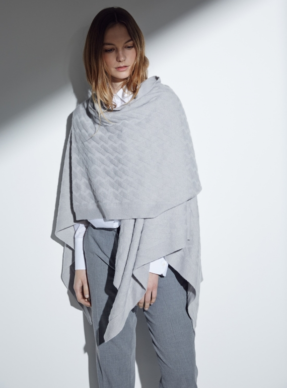 Young British Designers: The Albion Geometric Cable Cashmere Wrap in Dove by Lou Dungate