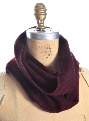 Young British Designers: The St.James Smooth Collar Cashmere Snood in Maroon by Lou Dungate