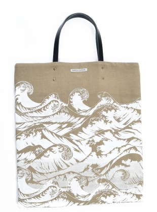 Young British Designers: Linen Tote Bag with Hand-Printed Waves  by Simeon Farrar