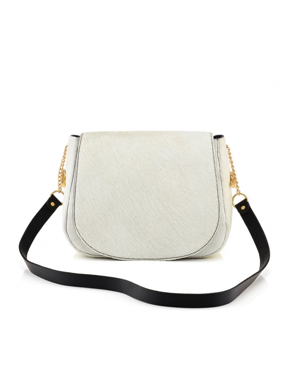 Young British Designers: Midi Shoulder Bag in White Hair on Hide - last one by Baia Bags