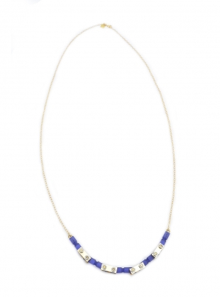 Young British Designers: NAVY FROSTED GOLD MECHANIC NECKLACE by Lily Kamper