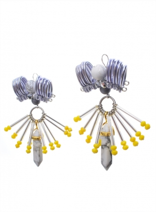Young British Designers: EMBELLISHED PEWTER COLUMN EARRINGS by Kirsty Ward