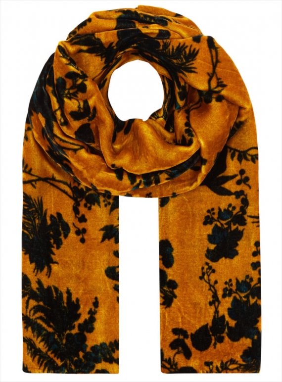 Young British Designers: Long Velvet Scarf in Garden Puppet Design - last one by Klements