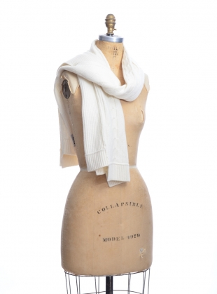 Young British Designers: Contrast Cable Ivory Cashmere Mix Scarf by J.Won