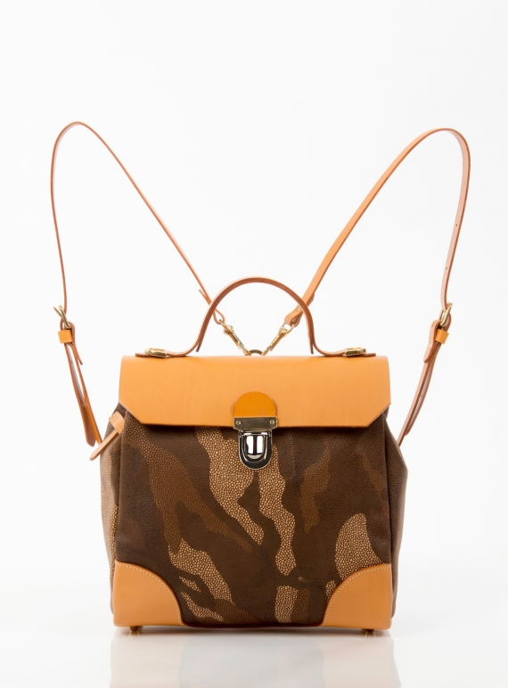 Young British Designers: Hillside Urban Backpack in Tan Camouflage - Last one by Jam Love London
