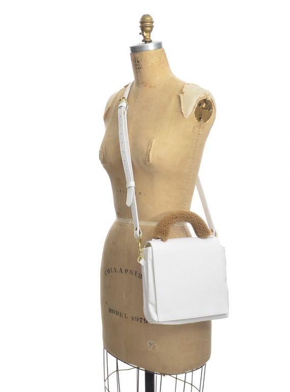 Young British Designers: LOKI 3 POCKET CROSSBODY BAG in White Pebbled Leather by Romy LDN