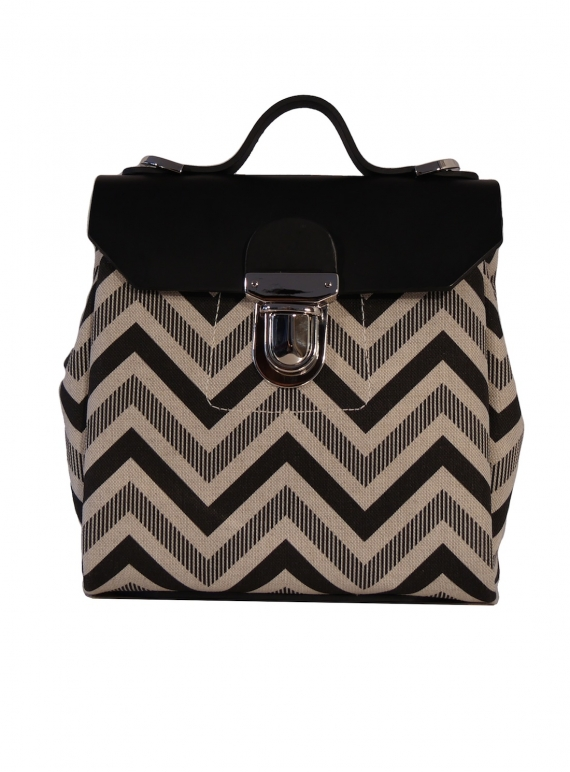 Young British Designers: Hillmini Messenger Bag in Black Chevron - last one by Jam Love London