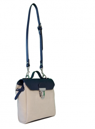 Young British Designers: Hillmini Messenger Backpack in Black & Natural - Last one by Jam Love London