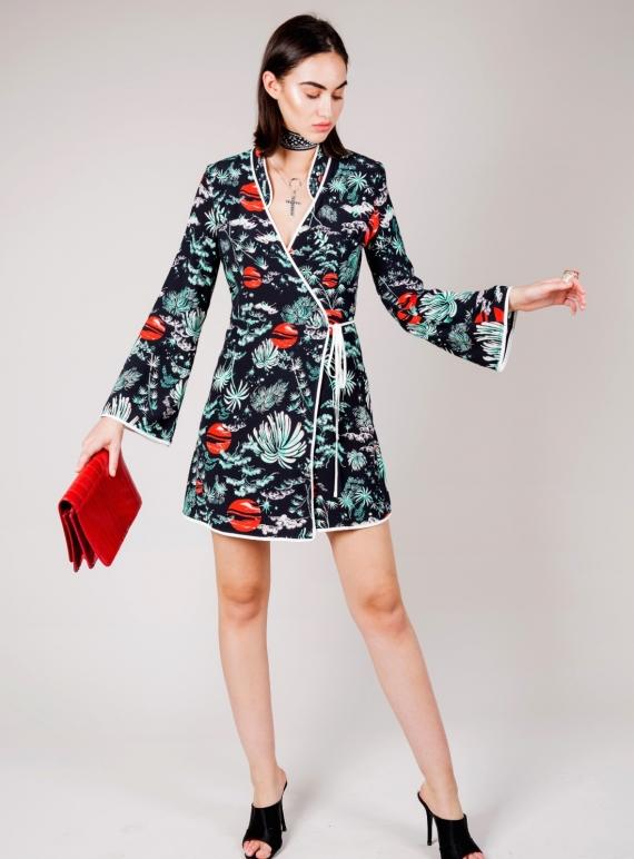 292f4e8c5361 Young British Designers  IRIS Green Oriental Sky Wrap Dress - Last one by  RIXO LONDON