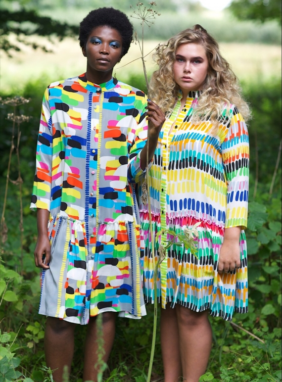 Young British Designers: Charlie Dress in Grey Tribe Print by Helen Steele