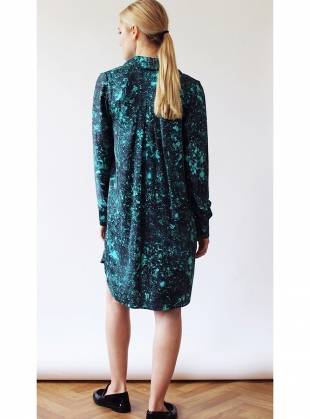 Young British Designers: Isobel Silk Shirt Dress in Acid Jade - Last one by Florence Bridge