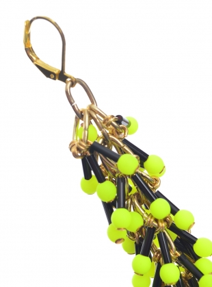 Young British Designers: Dangle EARRINGS in Neon Yellow by Longshaw Ward