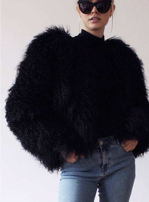Young British Designers: MATILDA Shearling Jacket in Black  by Florence Bridge