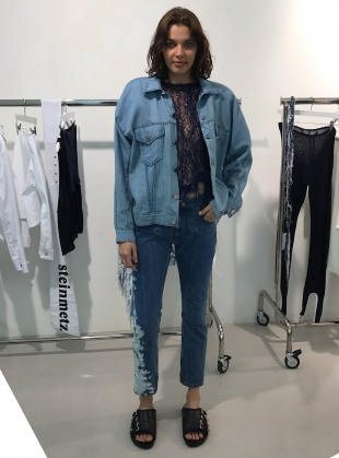 Young British Designers: Hand Woven Oversized Denim Jacket - last one by Faustine Steinmetz