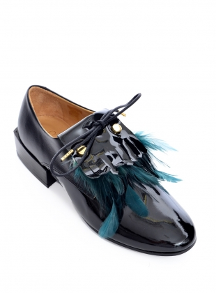 Young British Designers: BIRDIE Black Patent/Green Feather Brogue - last pair by Rogue Matilda