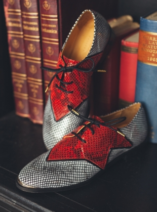 Young British Designers: SUPERSTAR Silver Snake Brogue -  by Rogue Matilda