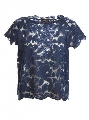Young British Designers: Sodwana Lace Blouse in Navy by Ziiga