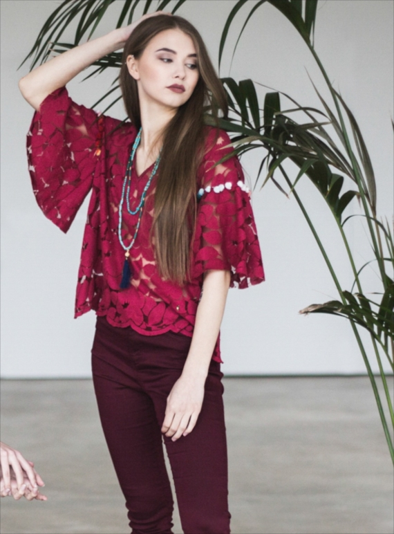 Young British Designers: Poppy Lace Blouse in Wine by Ziiga