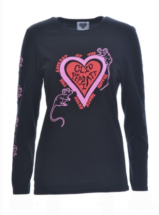 Young British Designers: French Kiss Print Black Long Sleeve Top - sold out by Clio Peppiatt