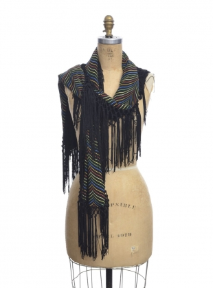 Young British Designers: SILK LINED VELVET FRINGED BAKEWELL SCARF by Rockins