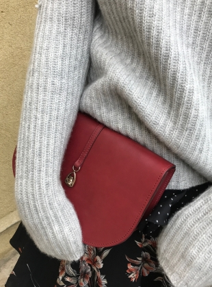 Young British Designers: THE BOXER Saddle Bag in Burgundy by Paradise Row