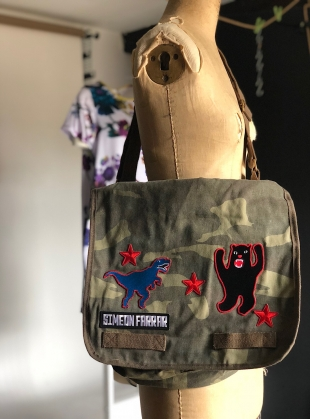 Young British Designers: CAMO MESSENGER BAG. Patches. by Simeon Farrar