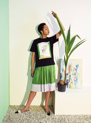 Young British Designers: Green Faux Leather & Cotton Pleat Skirt by Moon Lee Artwear