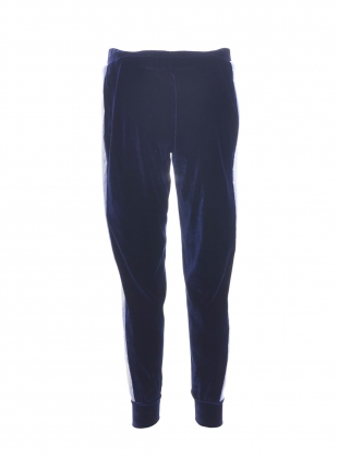 Young British Designers: ESTHER Jogger in Navy Stretch Velvet by SYKES