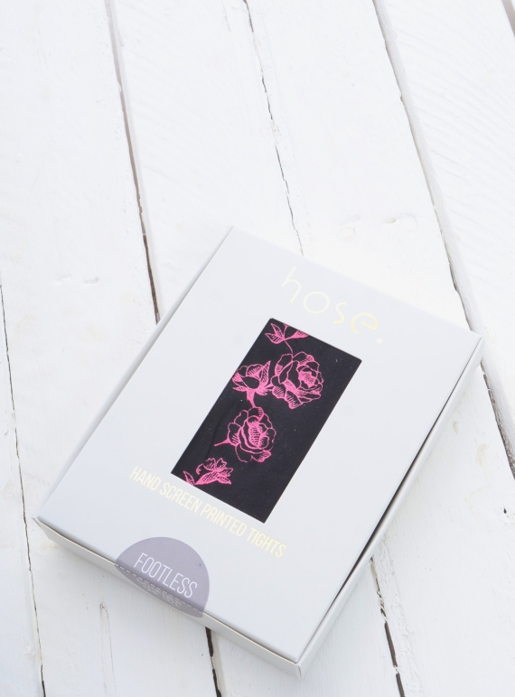 Young British Designers: Neon Rose Hand-Printed Footless Tights by hose.