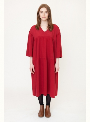 Young British Designers: YARA Organic Cotton Midi Dress In Cranberry  by Beaumont Organic