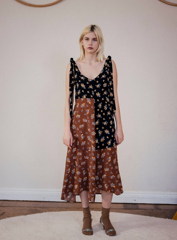 Young British Designers: PARIS SILK PRINT MIDI DRESS by Belize