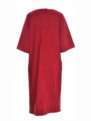 Young British Designers: DEBORAH Organic Cotton Cord Midi Dress in Red by Beaumont Organic