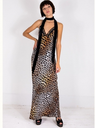 Young British Designers: LONG SLIP DRESS in Natural Leopard by Rockins