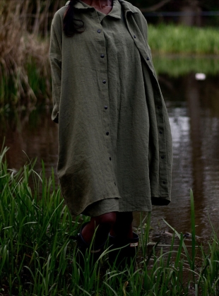Young British Designers: Softened Linen Reversible Dress in Khaki  by Lemuel MC