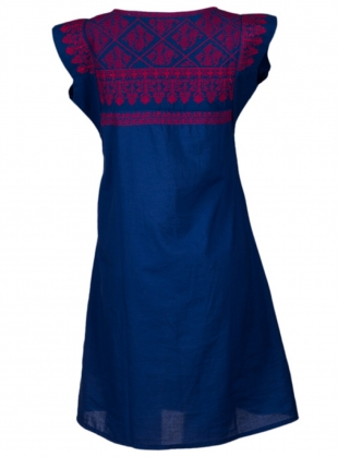 Young British Designers: Gypsy Nomad Dress: Blue with Red by Beshlie McKelvie