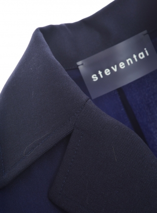 Young British Designers: PJ Drawstring Navy Silk Shirt Dress by Steven Tai