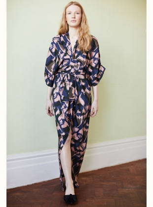 Young British Designers: Gloria Kimono Dress in Celadon Birds Fly Print - Last one by Tallulah & Hope