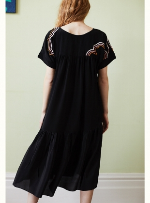 Young British Designers: Zoe Pocket Dress with Cloud Embroidery - Last one by Tallulah & Hope