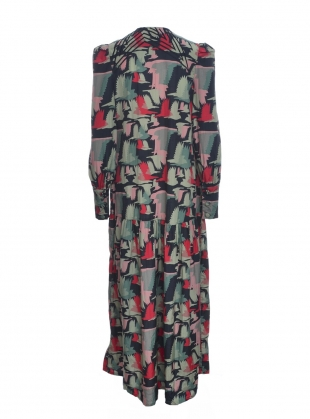 Young British Designers: Jessie Button Down Gown in Birds Fly Print - Last one by Tallulah & Hope