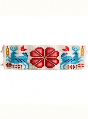 Young British Designers: Huichol Beaded Bracelet: Red by Beshlie McKelvie