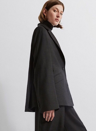 Young British Designers: ORGANIC OVERSIZED WOOL JACKET in Charcoal Grey - Last one by BITE STUDIOS