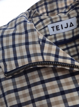 Young British Designers: GINGHAM SHORT HOODED RAINCOAT by Teija Eilola