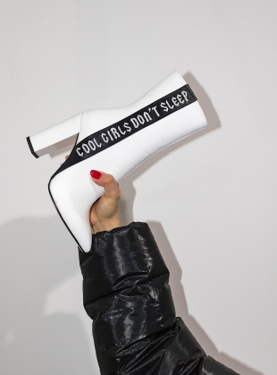 Young British Designers: COOL GIRLS Long White Ankle Boot by HAVVA