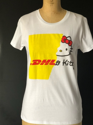 Young British Designers: COLLAB DHL Kitty tee by Simeon Farrar