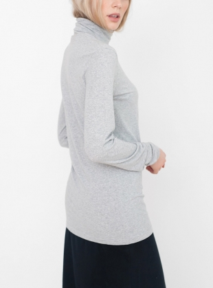 Young British Designers: TRICIA Organic Cotton and Lyocell Roll Neck Top in Grey Marl by Beaumont Organic