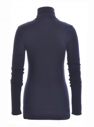 Young British Designers: TRICIA Organic Cotton and Lyocell Roll Neck Top in Navy by Beaumont Organic