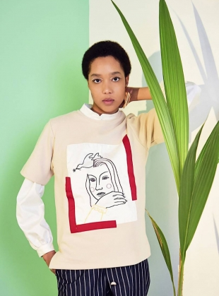 Young British Designers: Natural Peace & Me Embroidery Tee by Moon Lee Artwear