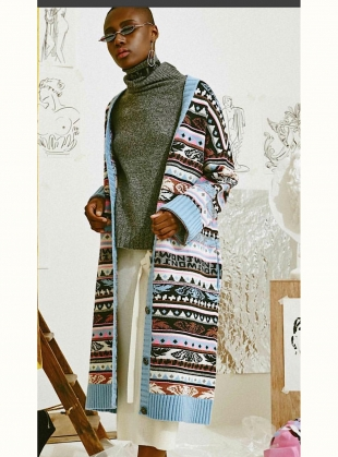 Young British Designers: ANGEL FAIR ISLE KNIT OVERSIZED CARDIGAN by J.Won