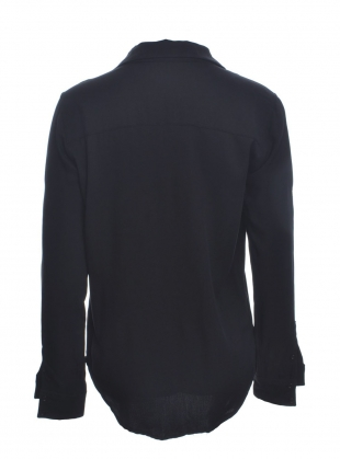 Young British Designers: COWSLIP V-Neck Black Shirt by Bruta